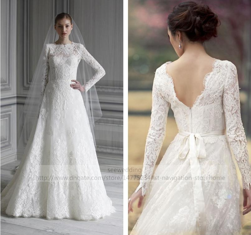 Discount Monique Lhuillier Catherine Long Sleeve Lace Wedding Dress ...