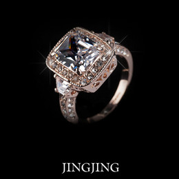 Wholesale Royal Emerald Jewelry - Royal Jewelry 18K Rose Gold plated 5ct Emerald cut Cubic Zirconia micro Swiss CZ Big Wedding Ring(JIngjing JR012A)