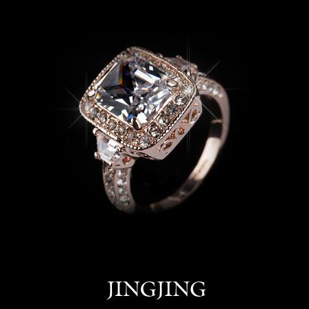 Royal Jewelry 18K Rose Gold plated 5ct Emerald cut Cubic Zirconia micro Swiss CZ Big Wedding Ring(JIngjing JR012A)