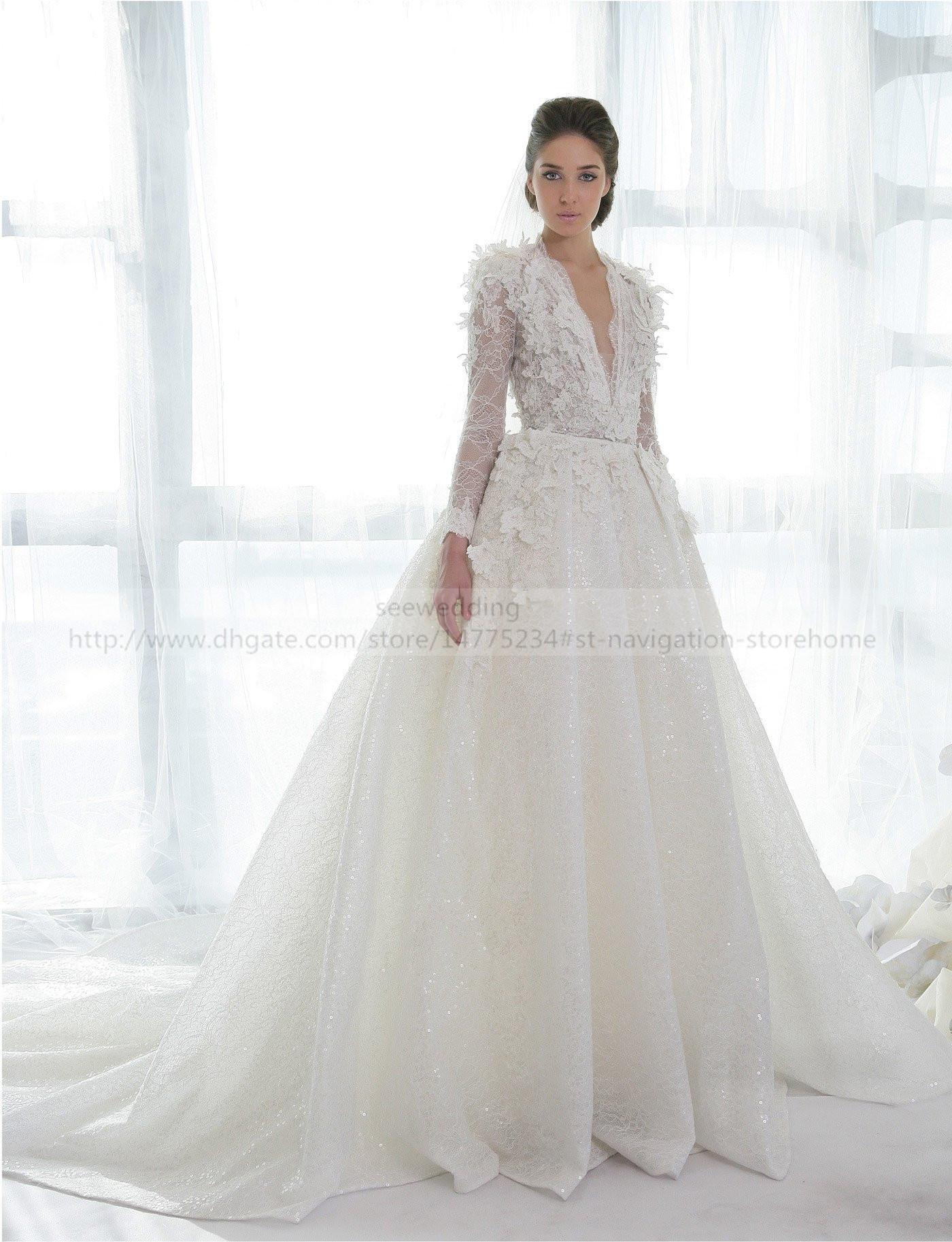 Lebanon Designer Ziad Nakad Wedding Dresses V Neck Floral Lace ...