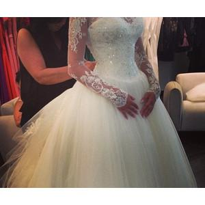 Tüll Eine Linie Prinzessin Brautkleider Mit Langen Spitzenärmeln Appliques Neue Ankunft Elegante Schatz Nach Maß Brautkleider W1175