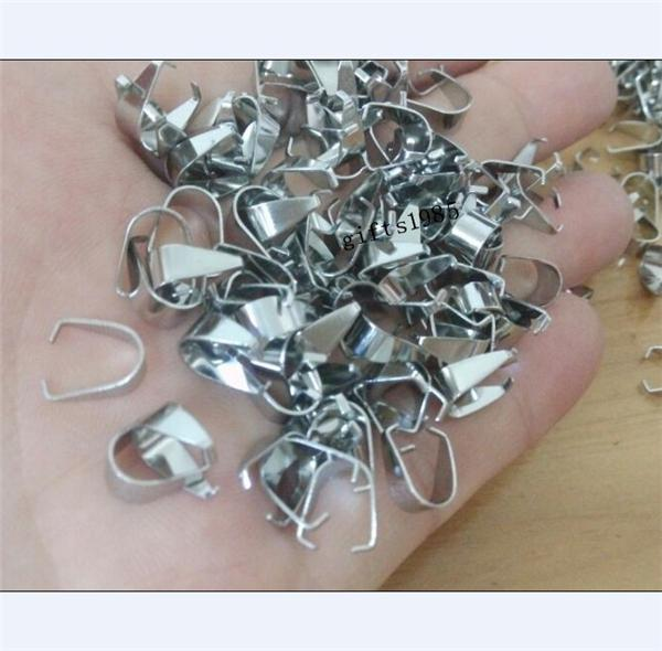 1000pcs plata colgante de acero inoxidable Pinch Clip Broche Bail Conector encontrar