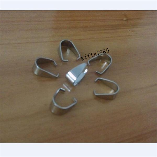 plata colgante de acero inoxidable Pinch Clip Broche Bail Conector encontrar