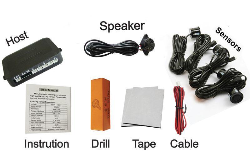 Alarme de capteur de stationnement simple en trois étapes Bibi Sound Car inversant quatre capteurs multicolores sans moniteur PZ200 PZ330