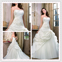 Wholesale Best Selling Taffeta Wedding Dress - Best Selling Beaded 2014 Wedding Dresses Strapless Sleeveless Lace-up Ruffles A Line Appliqued Chapel Train Taffeta Formal Bridal Gown WH343