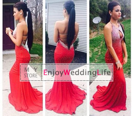 Wholesale Open Back Cross Strap Dress - 2017 Open Back Rhinestones Halter Hollow Bust Mermaid Red Long Prom Dresses Mermaid Floor Length Formal Party Evening Gowns Jov90640