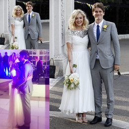 Wholesale Beaded Dress Slit Skirt - Fearne Cotton Married Jesse Wood White Short Sleeves Beaded Ankle Length Bridal Wedding Dress Free Shipping ZWD-268