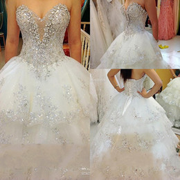 Barato Applique De Casamento De Strass-Rhinestone Beaded Appliques Sweetheart Lace Vestidos de noiva Real Hot Sale Vestidos de noiva Chapel Train Bridal Gowns