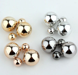Wholesale Golden Studs - Free shipping 2014 New Metal double sided Pearl stud earring for women Golden Silver Gun Black colors AAA Fashion jewelry gift
