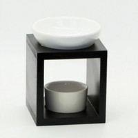 Classic Wood Aromatherapy Oil Burner with Ceramic Dish Plate...