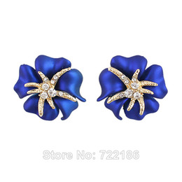 Wholesale Blue Rose Studs - New Coming 2014 Fashion Romantic Blue Rose Flower Charm 18K Gold Plated Rhinestone Luxury Stud Earrings for Women