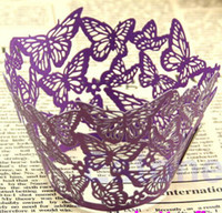 Wholesale Laser Cut Cup Cake Case - 12pcs lot free shipping Purple Butterfly laser cut cupcake wrapper muffin paper cup cake case holder 4 wedding birthday party decoration