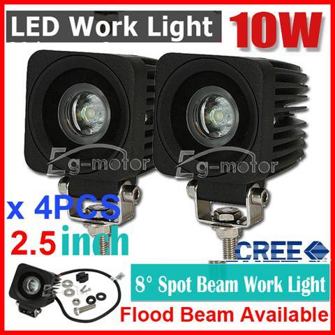 "4PCS 2.5"" 10W CREE LED Driving Work Light Off-Road SUV ATV 4WD 4x4 Spot / Flood Beam 1000lm 9-32V JEEP Motorcycle UTE Headlamp NEW PMMA IP67"