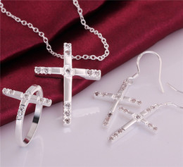 Wholesale Silver Cross Earrings Pendant - 2014 New Design 925 Silver Cross Pendant Necklace & Earrings & Rings Fashion Jewelry Set with Zircon Christmas gift free shipping