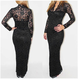 Wholesale Lace Maxi Dress Sale - 3 Colors Celebrity NEW hot sale Sexy Womens Long Sleeve V Neck Lace Club Evening Party Long Maxi Dress DK0611GC Free Shipping