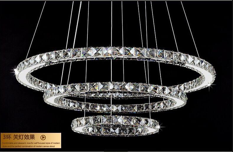 90w 806040cm diamond ring lustre led crystal chandelier light modern pendant lamp 3 circles for restaurant dining room decorative pendant lighting