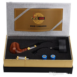 Wholesale 618 Electronic Smoking Pipe - E Pipe 618 Smoking Pipe electronic cigarette Kit E pipe 618 2.5ml Atomizer With 18350 Battery mechanical mod Wood Gift Box
