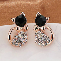 Wholesale Cat Stores - Ocean jewelry store 2014 new Korean Cute Bow Cat Earrings E442 ( free shipping $10)