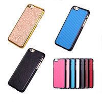 "Wholesale Hard Plastic Horse - Luxury Leather Hard Case for iPhone 6 4.7"" iPhone6 Combine with Hard PC , Carbon Fiber Ball Crazy Horse Pattern Back Shell Cover DHL 100pcs"