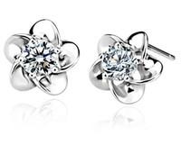 Wholesale plum blossom earrings resale online - 2013 New Arrive Sterling Silver Stud Earrings Fashion Silver Earring Silver Jewelry Plum Blossom