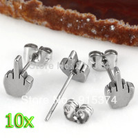 Wholesale free stud earrings resale online - 10pcs Fashion Stainless Steel Classic Middle Finger Ear Stud Men s Earring Punk Cool Silver