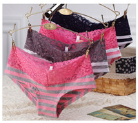 Wholesale Young Lingerie Panties - Girls' underwear sexy lace Low waist Briefs   Women Cotton Underwear  Young Ladies' Seamless Panties sexy lace lingerie love pink 5pcs lot