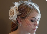Wholesale Champagne Bridal Hats - High Quality Champagne Ivory Flowers Feather Birdcage Wedding Veil Bridal Fascinator Hats Dress Gowns