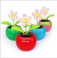 Wholesale Solar Powered Dancing Flower Toys - Car Interior Decorations Powered Flap Flip beauty Apple Flower Flowerpot Swing Solar Dancing Toy Ornaments