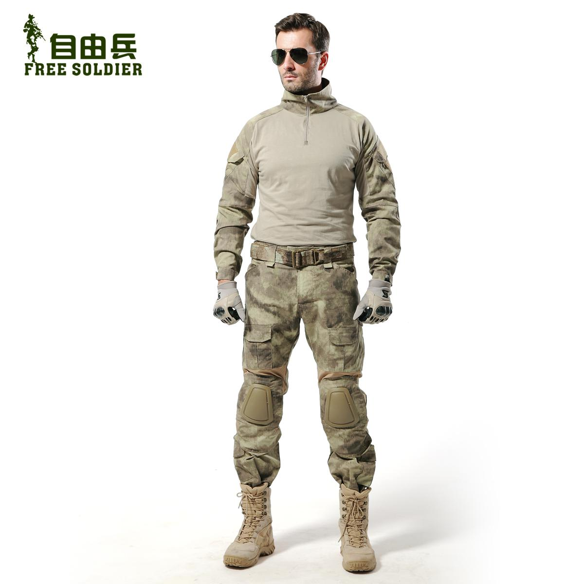 Free Soldier FS-ZSF001 army uniform tactical set flanchard suits training  suit a-tacs Camouflage Coat Pants Knee Pads Size:S-XL