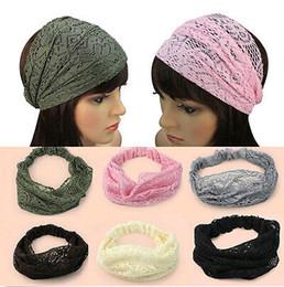 Wholesale chic lady - New Fashion Chic Bandanas Lace Head Wraps Women Lady Girls Wide Headband Gift Hair Accessories Mixed [JH06005*6]