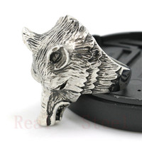 Wholesale wolf designs - Free Shipping Personal Design Wild Wolf Head Ring 316L Stainless Steel Man Boy Fashion Jewelry Band Party Cool Wolf Ring