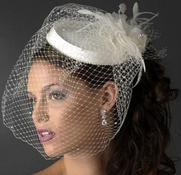 Wholesale ivory bridal hats - High Quality Beautiful Birdcage Bridal Flower Feathers Fascinator Bride Wedding Hats Face Veils