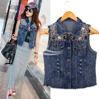Wholesale Sequins Jean Vest - Womens Vintage Washed Blue Denim Sequin embellish Jean Vest Sleeveless Jacket free shipping