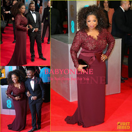 Wholesale oprah dresses - Oprah Winfrey Burgundy Long Sleeves Sexy Mother of the Bride Dresses V-Neck Sheer Lace Sheath Plus Size Celebrity Red Carpet Gowns