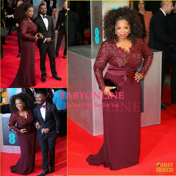 Oprah Winfrey Burgundy Long Sleeves Sexy Mother of the Bride Dresses V-Neck Sheer Lace Sheath Plus Size Celebrity Red Carpet Gowns