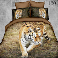 Wholesale Tiger Print Comforter Set King - Queen King Polyester 3D 4pcs bedding set bedclothes sets Home Textile sheet quilt cover duvet cover Comforter Cover pillowcase Lone Tiger