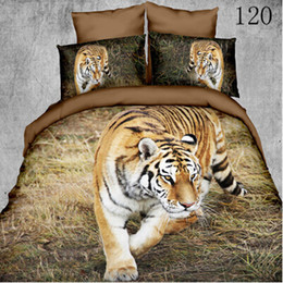 Wholesale Tiger Animal Comforters - Queen King Polyester 3D 4pcs bedding set bedclothes sets Home Textile sheet quilt cover duvet cover Comforter Cover pillowcase Lone Tiger