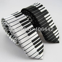 "Wholesale Wholesale Music Keyboards - 2pcs of 2"" polyester Poly Ties SLIM Tie NARROW Ties SKINNY Tie Black & White piano keyboard Keys Necktie Music fashion tie"