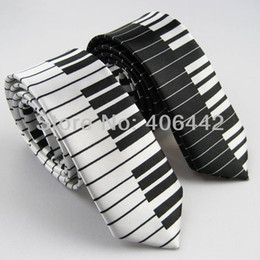 "Wholesale Music Neck Ties - 2pcs of 2"" polyester Poly Ties SLIM Tie NARROW Ties SKINNY Tie Black & White piano keyboard Keys Necktie Music fashion tie"
