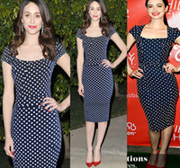 Wholesale Pinup Xs - 2014 Free Shipping Womens Square Neck Vintage Dot Pinup Rockabilly Bodycon Business Party Pencil Wiggle Knee-Length Dress XS-XXL