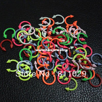 Wholesale Neon Piercing - Wholesale-OP-free shipping Hot Fashion Charm Gauges spike circular neon colors 40pcs 16G 3mm surgical Stainless Steel horseshoe piercing
