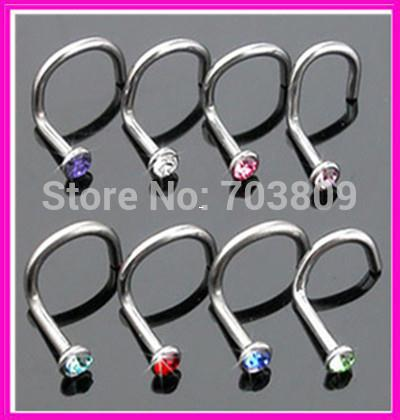 Wholesale-OP-Free Shipping N15 Nickel-free stainless steel mix 10 colors body jewelry piercing screw nose piercing nose stud
