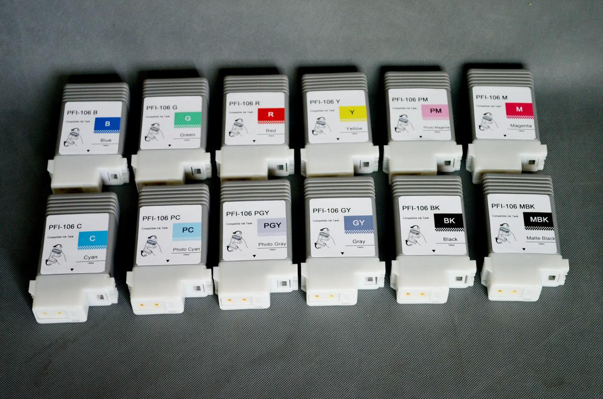 PFI-106 ink tank chip for Canon IPF6300 IPF6350 IPF6450 printer PFI-106 ink cartridge replace. 12-color-set