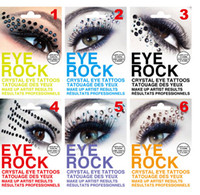 Wholesale Eyeshadow Crystal - Free Shipping 4pack Fashion Eye Rock Eyeshadow,6colors Rhinestone Crystal Tattoos Stickers Eyelid Makeup Decoration Tools