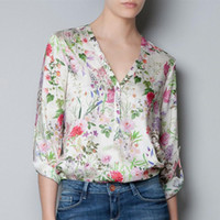 Wholesale Latest Tops Blouses - Latest Fashion Womens V-neck Floral Print Roll up Loose Chiffon Shirt Blouse Tops Free Shipping