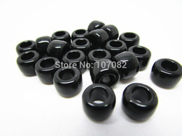 Wholesale Wholesale Bracelet Large Hole Bead - 500pcs lot 6*8mm Black Pony Beads Acrylic Beads Large Hole Beads For Hair Jewelry Rubber Loom Bands Bracelet Or Kandi Mask
