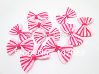 Wholesale Stripes Grosgrain Ribbons - 100pcs lot Mini Bows Pink With Fuchsia Stripes Grosgrain Ribbon Bows Decorative Butterfly Ties For Doll Pet Hair Accessories