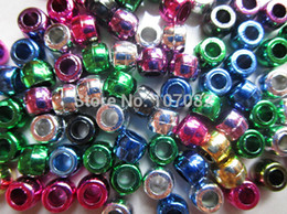 Wholesale Foil Beads - 2000pcs 6x8mm Foil Metallic Multi Pony Beads Craft Plastic Beads For Loom Bands DIY Hair Jewelry Beads