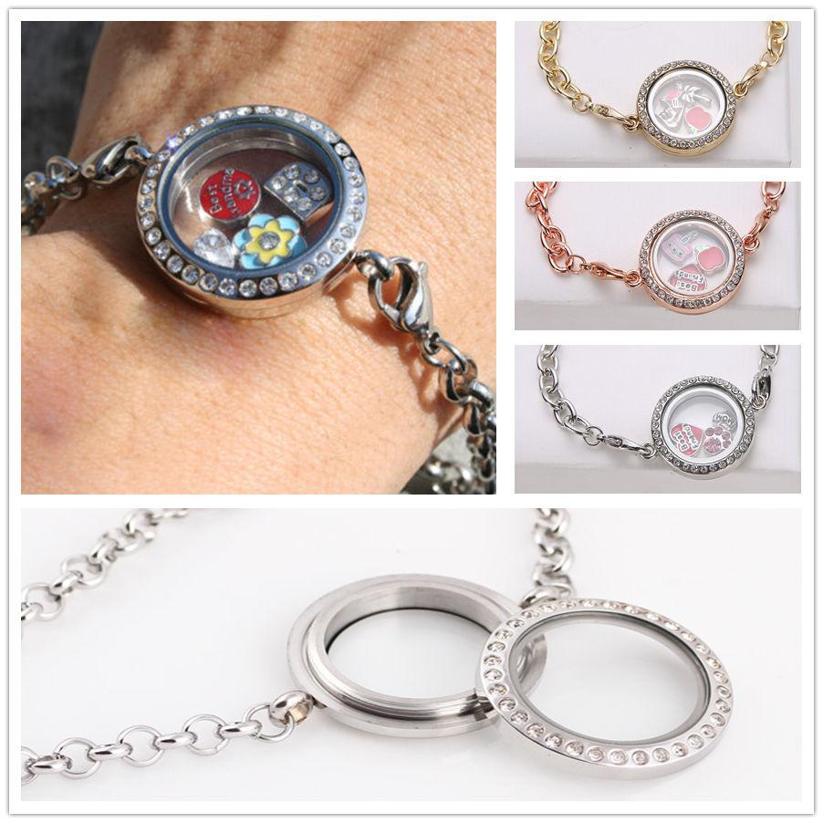Memory Charm Bracelets: Band New Magnetic Crystal Living Memory Locket Bracelet
