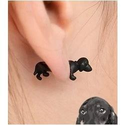 Punk Style So Cute Mens & Womens 3D Puppy Dog Animal Cuff Ear Earring small, black or gold jewelry 2014